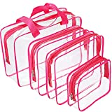 Hotop 4 Pieces Clear Make-up Bags Travel Toiletry Bag Organizers for Traveling, Business Trip and School, Water-proof (Rose Red)