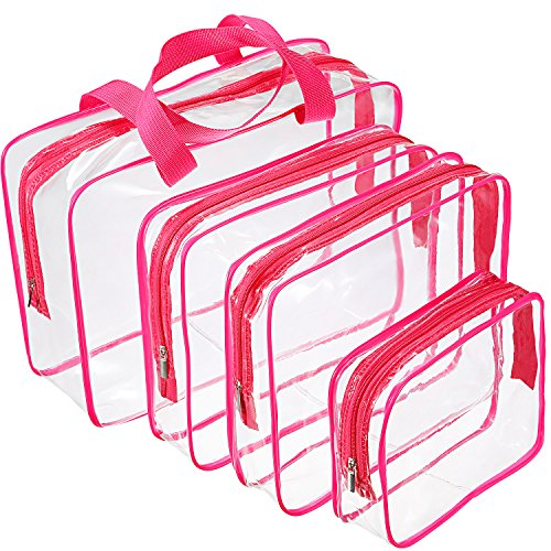 Hotop 4 Pieces Clear Make-up Bags Travel Toiletry Bag Organizers for Traveling, Business Trip and School, Water-proof (Rose Red) (Piece 4 Makeup Bag)