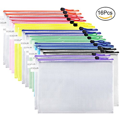 Office Paper Storage (EOOUT 16pcs Plastic Mesh Zip Document Pouches Zip File Folders with A4 Size Paper, Office Supplies, Travel Storage Bags,8 Colors)