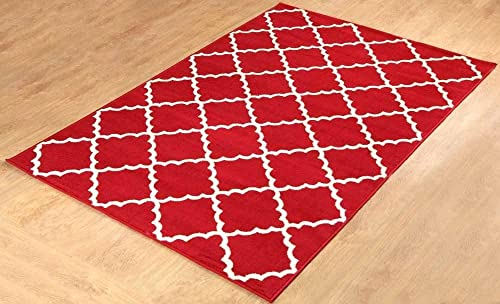 Furnish my Place Contemporary Trellis Modern Geometric Area Rug, Red