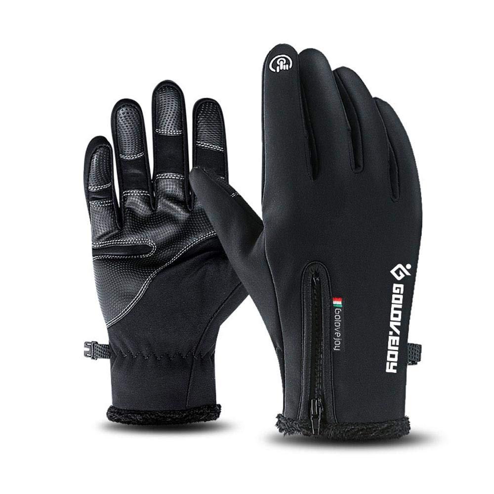 Aolvo Guanti Running Touch Screen Guanti Impermeabili Termici Invernali Antivento Esterna Ciclismo Alpinismo Escursionismo Gloves da Sci Donna/Uomo Nero - S