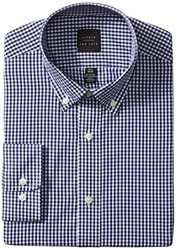 Oxford NY Men's Gingham Button Down Collar, Navy, 17.5 34/35 (Gingham Dress Navy)