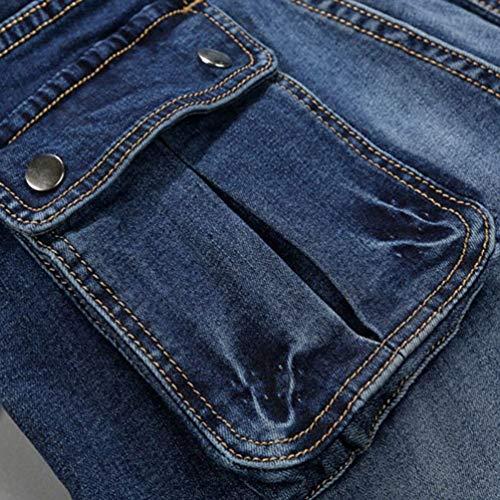 Pantaloni Ragazzo Jeans Fit Nab Dritta Vintage Slim Blau Gbar Elasticizzati Gamba qIw8FI