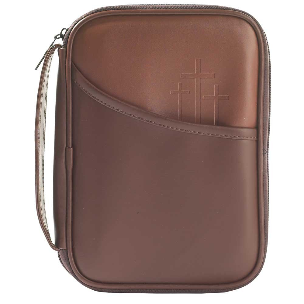 Three Crosses Brown 8.5 x 10.5 inch Leather Like Vinyl Bible Cover Case with Handle Large
