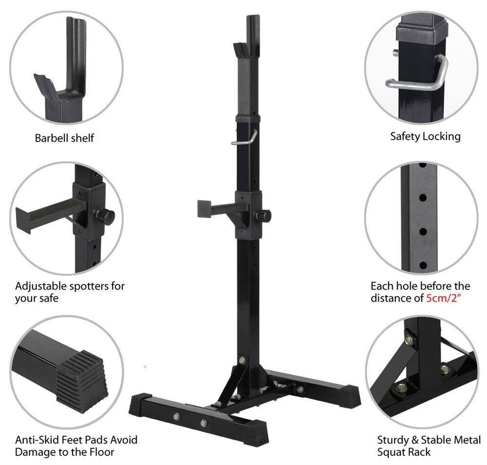 Yaheetech Pair of Adjustable Squat Rack Standard Solid Steel Squat Stands Barbell Free Press Bench Home Gym Portable Dumbbell Racks Stands 44''-70'' by Yaheetech (Image #4)
