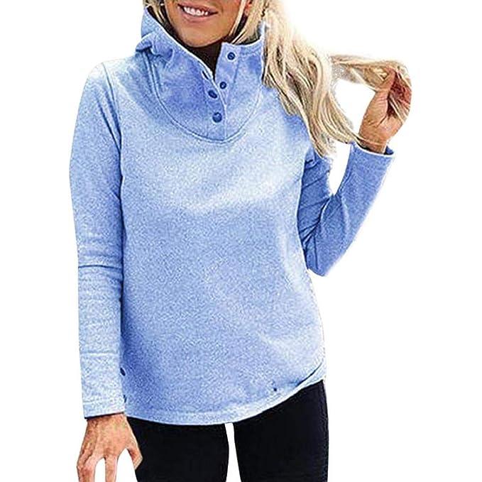 Luckycat Mujeres Sólido Collar de Soporte Manga Completa Botón cálido Outwears Sudadera Blusa (Azul,