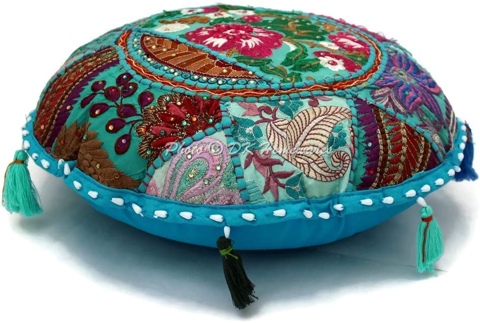 DK Homewares Round Traditional Floor Pillow Adult Bohemian Turquoise Blue 18 Inch Patchwork Living Room Pouf Ottoman Home Decor Embroidered Vintage Cotton Indian Floor Cushion for Kids 45 cm