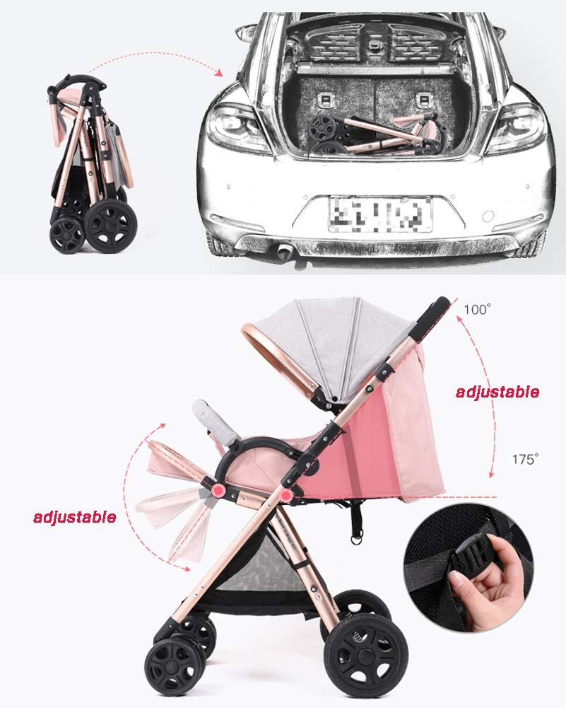 Yhz@ High Landscape Baby Stroller Handle Reversible Infants Buggy se Puede sentar y tumbarse DownUltralight Portable Foldable Child Cart Sillas de Paseo Color : Pink 2