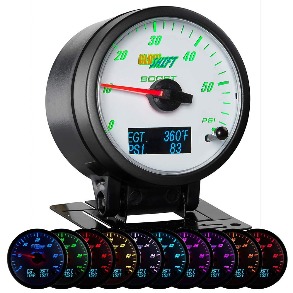 GlowShift 3in1 Analog 60 PSI Boost Gauge Kit with Digital 2200 F Pyrometer Exhaust Gas Temp EGT & 150 PSI Pressure Readings - 10 Selectable LED Colors - White Dial - Clear Lens - 2-3/8'' 60mm by GlowShift