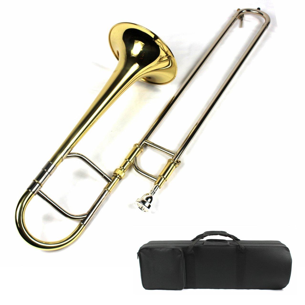 Brand New Eb Alto Trombone w/ Case and Mouthpiece- Gold Lacquer Finish Moz-GP-100