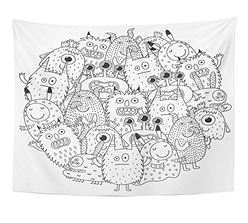 Emvency Tapestry Print Halloween Funny Monsters Circle Shape Pattern for Coloring Book Page Mandala Round Home Decor Wall Hanging For Living Room Bedroom Dorm 60x80 Inches -