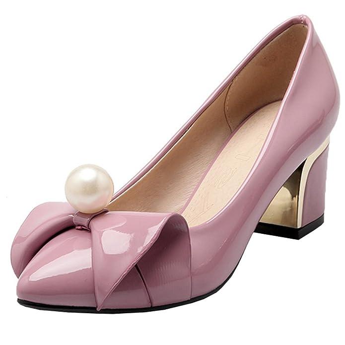 55a98360e89c46 Atyche Damen High Heels Spitze Pumps mit Schleife und Perlen Blockabsatz  Lack Rockabilly Schuhe - sommerprogramme.de