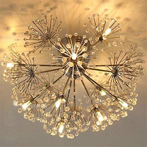 (Injuicy Lighting Modern European K9 Crystal Dandelion Ceiling Lights Fixtures Contemporary Led Pendant Ceiling Lamps for Living Dining Room Bedroom Aisle Chandelier Art Decor (9 Head White Light))