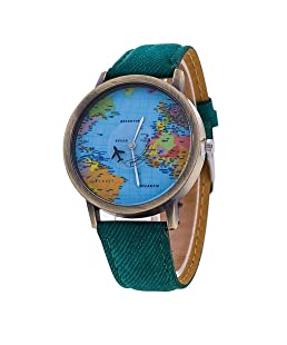 Lucoo Women's Global Travel By Plane World Map Dress Watch Denim Faux Leather Wrist Watches (Green)