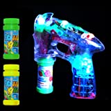 LED BUBBLE GUN SHOOTER LED LIGHTS WITH TWO FREE BUBBLE SOLUTIONS LED Fusion (TM)