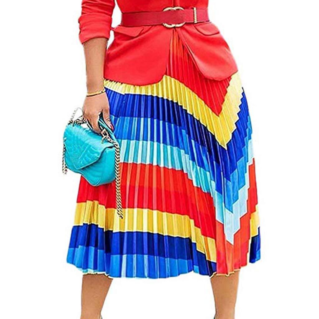 Women's Pleated Skirts, Caopixx Women Graffiti Printed Elastic Waist A-Line Swing Midi Skirt Dress Red by Caopixx Dress