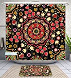 Unique Custom Bathroom 2-Piece Set Mandala Decor Indian Spiritual Floral Motif With Middle Eastern Islamic Influences Image Emerald Red Shower Curtains And Bath Mats Set, 60''Wx72''H & 23''Wx16''H