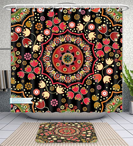 Unique Custom Bathroom 2-Piece Set Mandala Decor Indian Spiritual Floral Motif With Middle Eastern Islamic Influences Image Emerald Red Shower Curtains And Bath Mats Set, 60''Wx72''H & 23''Wx16''H by Amavam