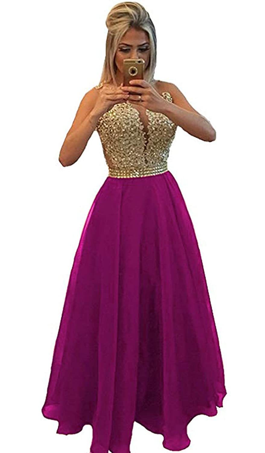 Cfuchsia Ri Yun Womens Prom Dresses Long Sleeve Lace 2018 Illusions Back Pearl VNeck Formal Evening Ball Gowns
