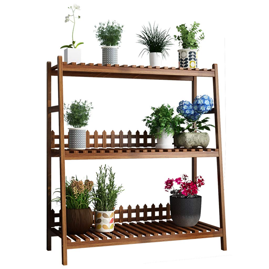3 Tier Wooden Flower Stands Plant Stand Plant Flower Display Flowerpot Storage Rack for Indoor Outdoor Garden Flower Ladder Rack (Dark Brown) by GYX-Plant Accessories