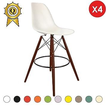 Mobistyl DSWHB-M-4 - Juego de 4 taburetes estilo escandinavo para barra, con patas de madera barnizada de color nogal: Amazon.es: Hogar