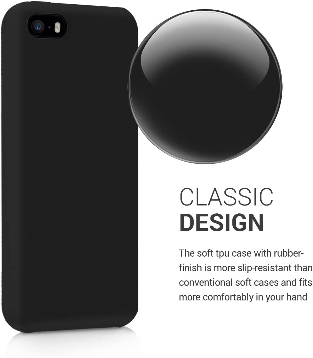 Cover trasero en petr/óleo mate kwmobile Funda compatible con Apple iPhone SE 5S Carcasa de TPU para m/óvil 5