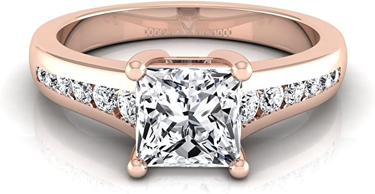 14k Rose Gold Channel Set 3 4 Ct T W Princess Cut Diamond Engagement Ring Amazon Com
