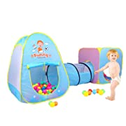 Baby Play House Tent Tunnel Boys and Girls Pop up Kids Ball Pit Pool Indoor and Outdoor Play Tent and Tunnel Easy Folding Cute 3 in 1 Play House Children's Playground with Zippered Storage Bag