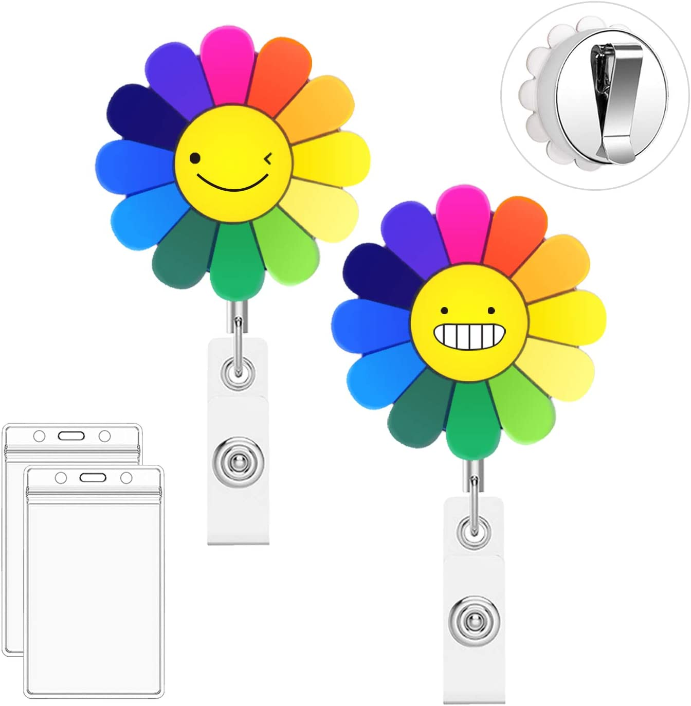 Belt Clip Bolly 2 Pack Metal Rainbow Cute Badge Reel Retractable Badge Holder 2pcs ID Card Holders Perfect Gifts for Women and Students 25/'/' Steel Wire Cord