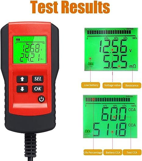 Kkmoon Auto Batterietester Digital 12v Belastungstest Und Analysator Für Batterielebensdauer Spannung Widerstand Und Deep Cycle Batterie Rot Auto