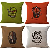 Famulei 4 Packs Cartoon Cute Star Wars Darth Vader Pattern Chair Seat Back Cushion Cover Pillow Covers 18X18 Inch Cotton Linen Throw Pillow Case Square Pillowslip for Home Bed Sofa Couch Decor