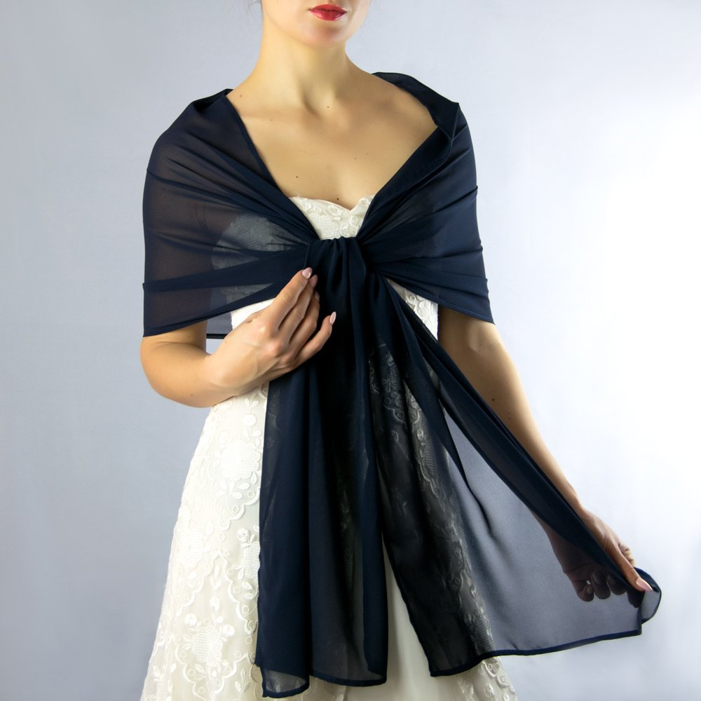 Chiffon navy blue stole wrap shawl evening dress accessory