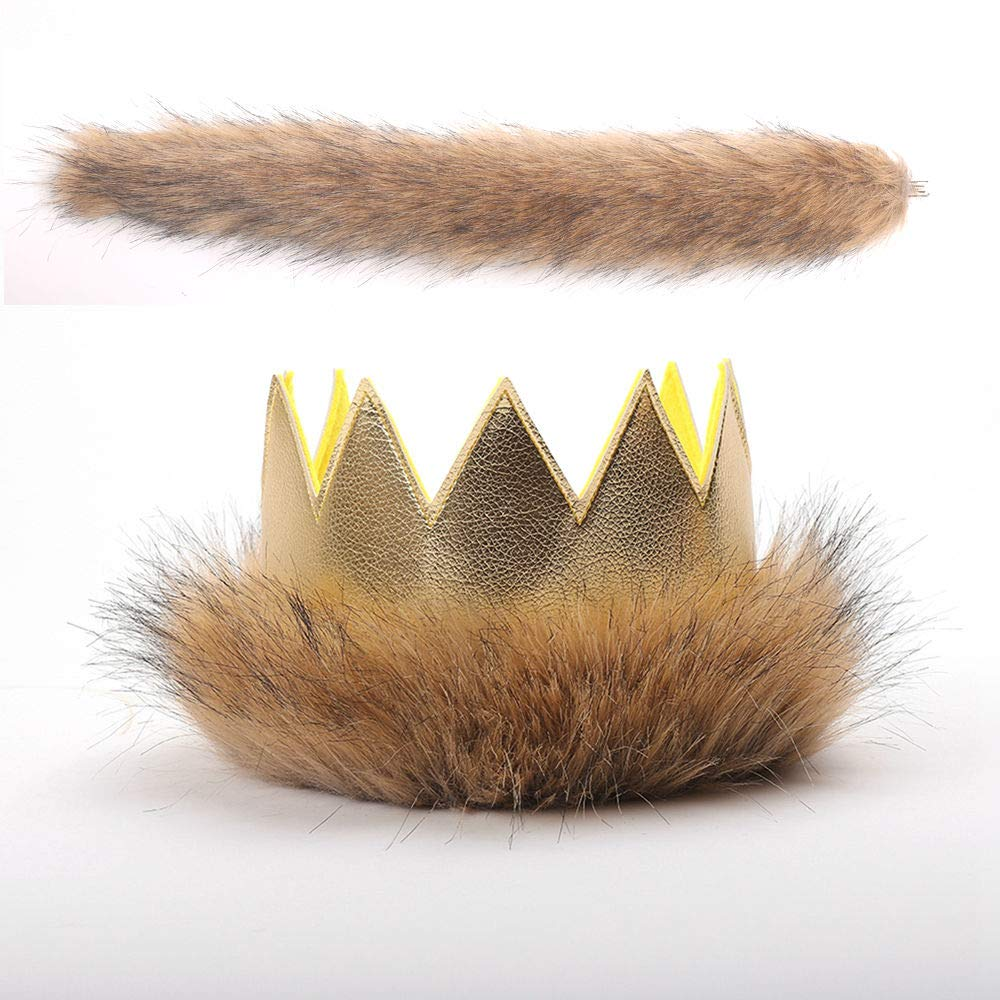 Where The Wild Things Are Max Costume Supplies Wild Max Crown Tail First Birthday Gold Pleather Fur Play Boys Girls Dress Up Party Cake Smash Things King of the Jungle