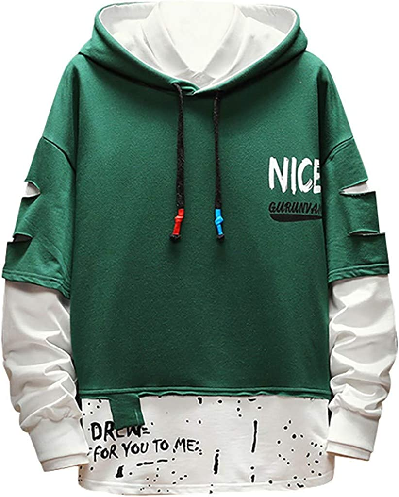 Zilosconcy Hoodies Fake Two-Piece Man Tracksuits Mens Simple Loose Stitching Casual Comfortable Patchwork Hooded Sweater Top Jacket Jumper Sweatshirt