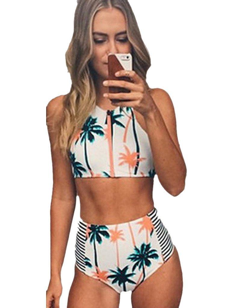 Blooming Jelly Femminile Gelatina Coconut Tree Stampa A Vita Alta Bikini Costume da Bagno
