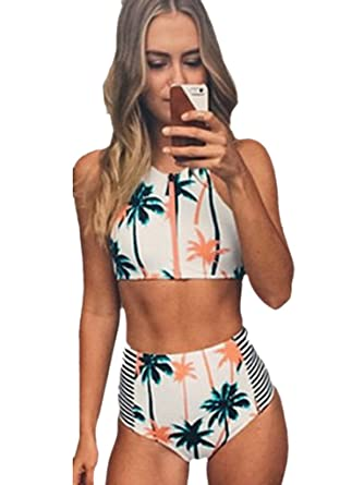 Blooming Jelly Femme Halter Neck Geo Imprimer taille haute Bikini Set Beachwear, Noir/Blanc, 40 EU (L)