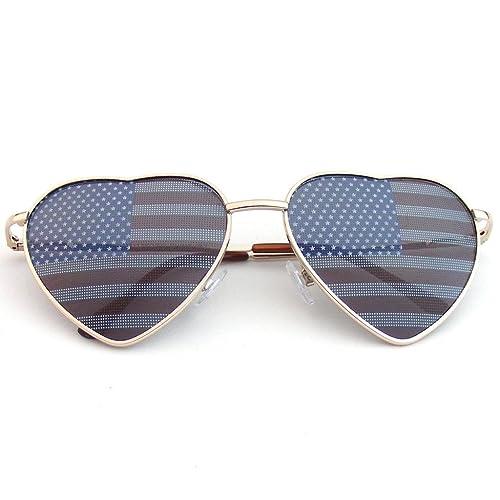 Emblem Eyewear - Premium U.S. aviador USA gafas de sol de bandera americana EEUU estrellas corazón c...