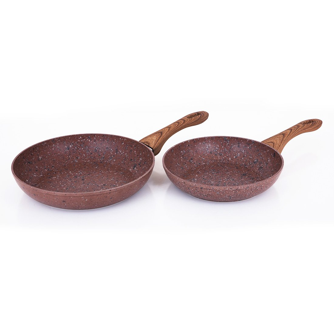 MICHELANGELO 2 Piece Granite Non-Stick Fry Pan Set, Marble Skillet Set with Wooden Looking Handles, Induction Compatible, 9 1/2 Inch and 11 Inch, Brown