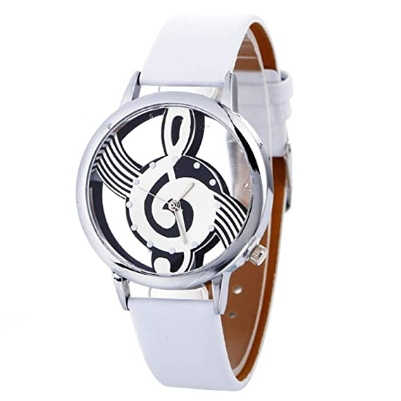 Amazon.com : sportsmanship Musical Note Painting Leather Bracelet Lady Womans Wrist Watch reloj Mujer Pulsera Ladies Watch(Black, 1) : Sports & Outdoors