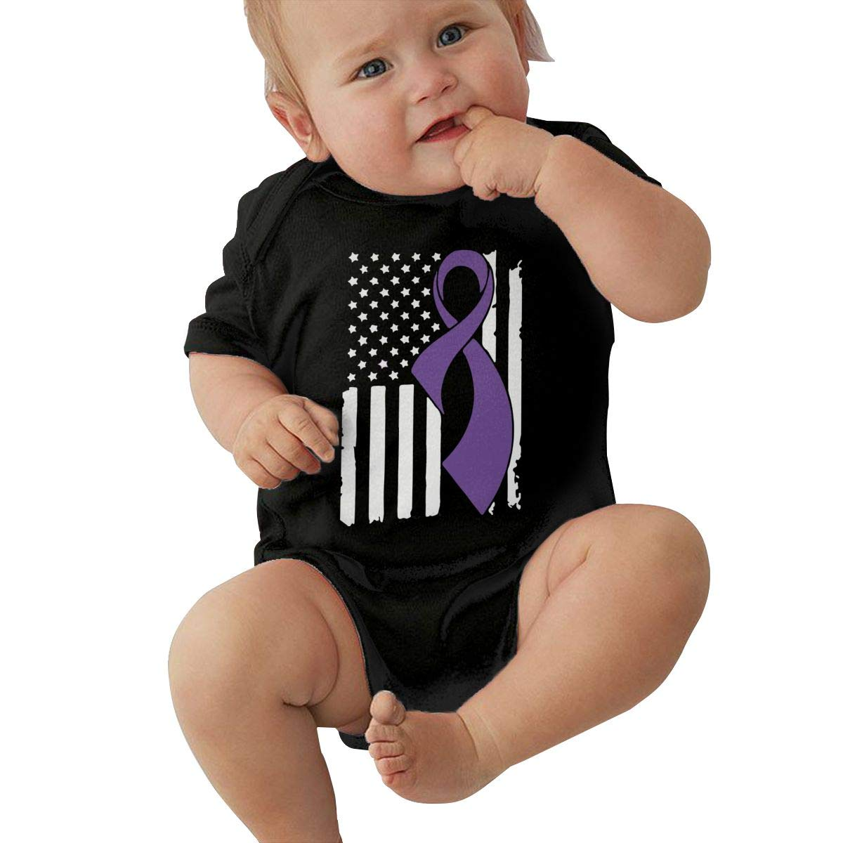 JJKKFG-H Pancreatic Cancer Awareness Flag Funny Summer Newborn Toddler Baby Short Sleeve Bodysuits Coverall Jumpsuit Shirt