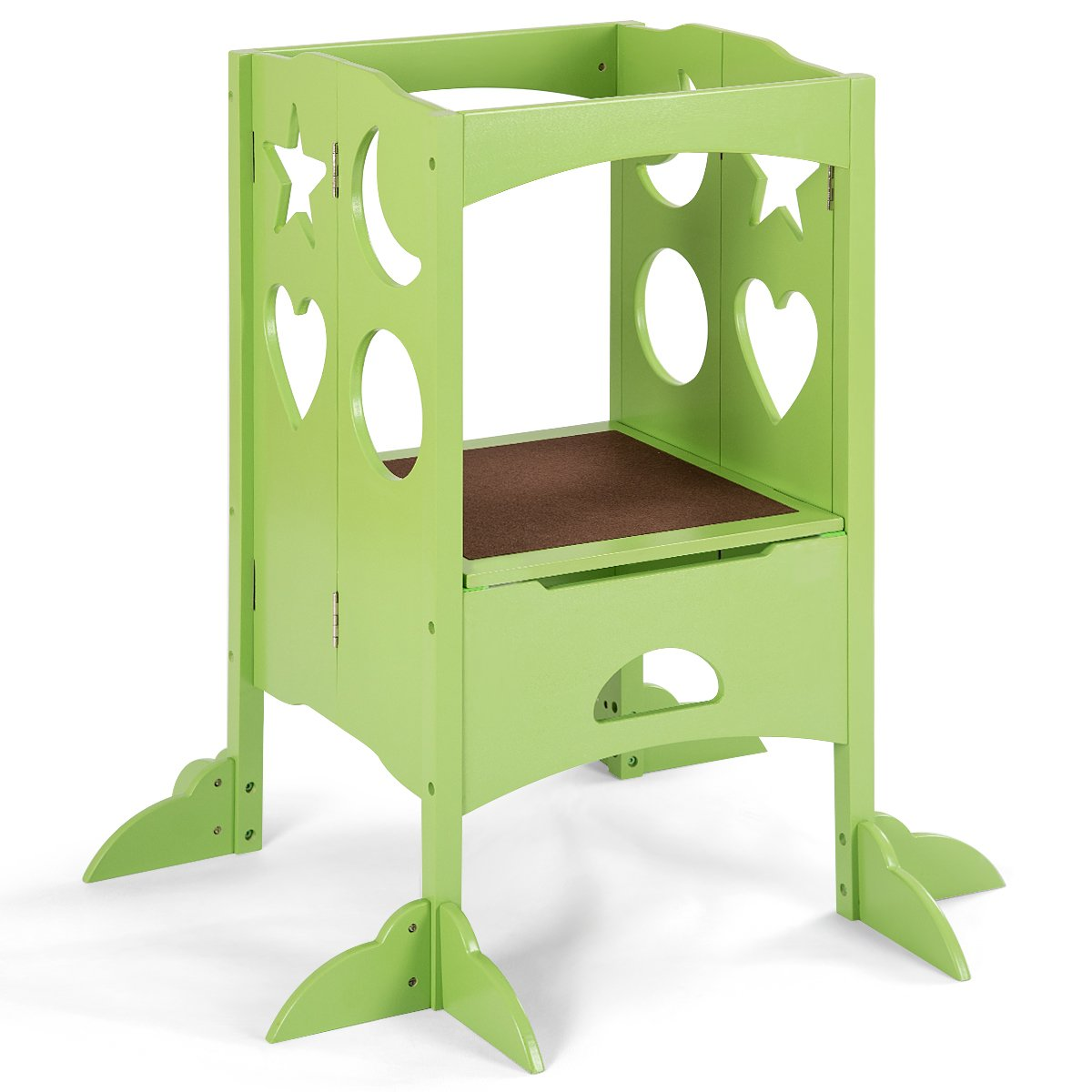 Costzon Kids Step Stool, Folding Safety Learning Stool with Climbing Holes & Non-Slippery Blanket, Perfect for Little Ones in Kitchen (Green)