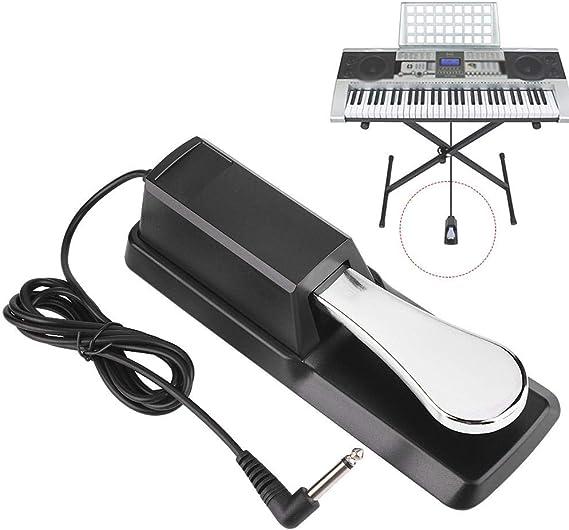 Fafeims Teclado Sustain Pedal Amortiguador de Piano Digital Accesorio Universal Compatible con Pianos electrónicos Negro