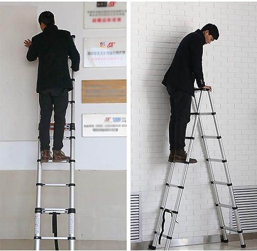 XEWNEG Extensión For Escalera De Aluminio, Escalera Portátil Al Aire Libre De Ingeniería Inicio Plegable Telescópico, con El Pedal Antideslizante Y De Bloqueo De Seguridad: Amazon.es: Hogar