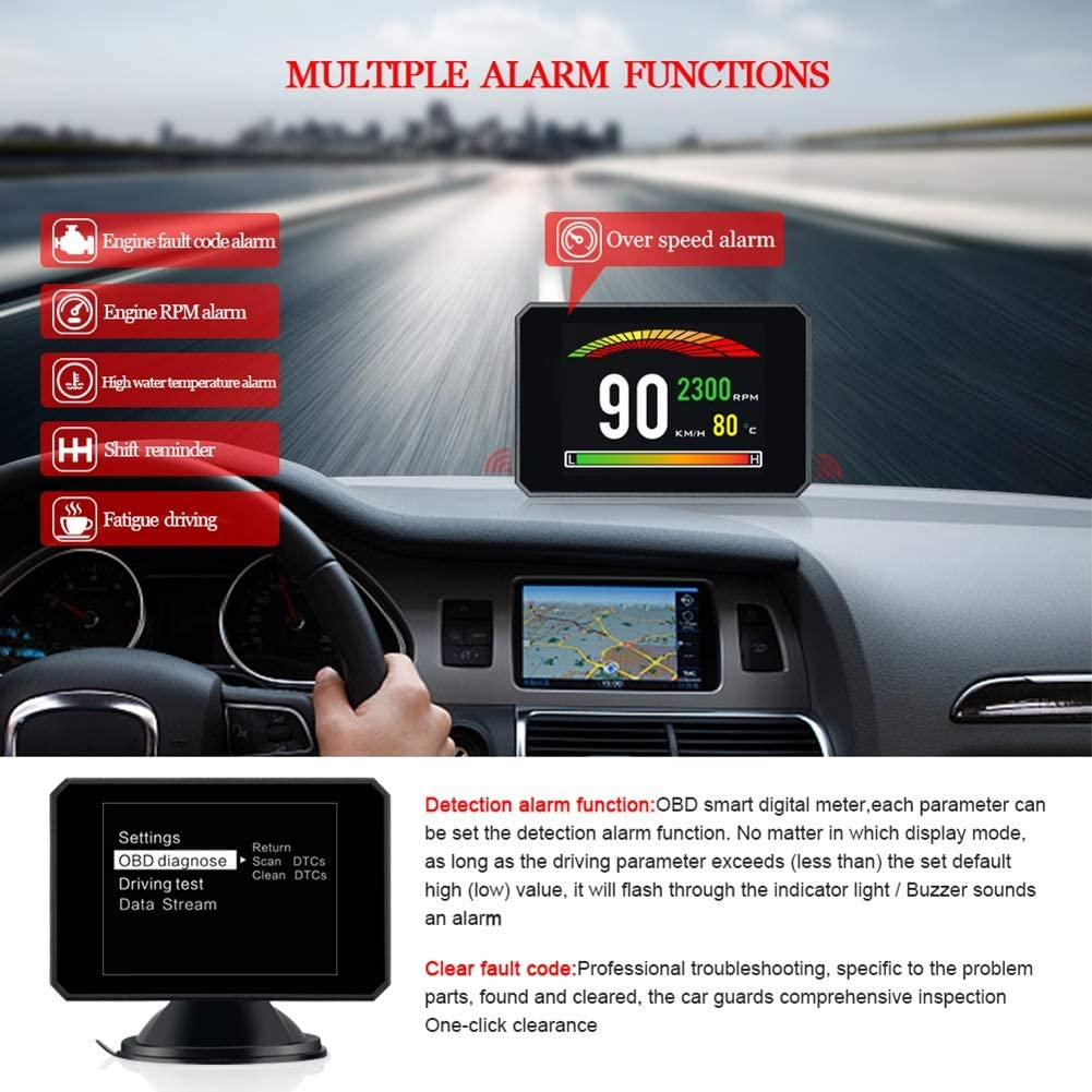 GFFG 3.0 Inch HUD//OBD Ⅱ OBD2 Port//TFT LCD Screen//Head Up Display//KM//h MPH//Overspeed Warning//Windshield Projector//Alarm System//Water Temperature Meter//Multi-Function Digital Diagnostic Instrument