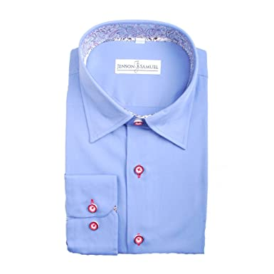 Mens Premium Designer Formal Regular Fit Dress Shirt Contrast Collar Cuff S-4XL