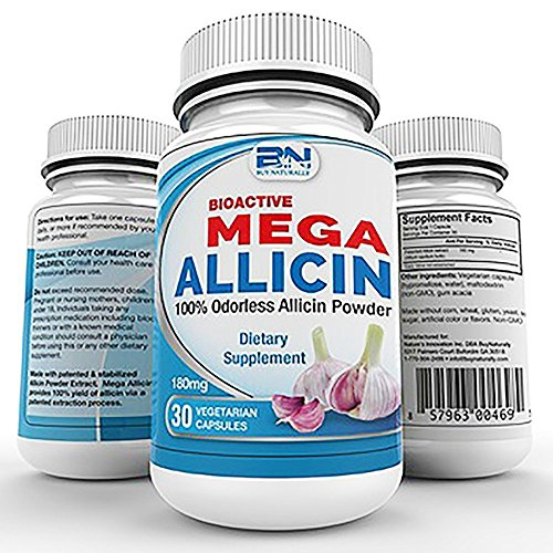 Mega Allicin 100% Allicin from Garlic 180mg/30 count vCaps, Odorless, Non-GMO, and Gluten-Free (30 Count)