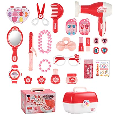 Pretend Play Makeup Toy Beauty Cosmetic and Jewellery Set Box Princess Hair Dressing Up Kit Vanity Case 30 Pcs Educational Toy Ideal Birthday for Kids 3+: Toys & Games
