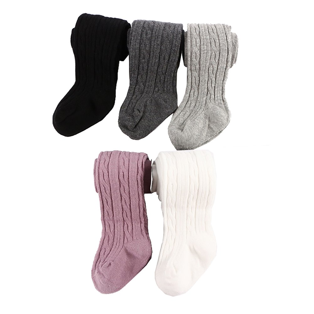 Looching 5 Pack Baby Toddler Girls Cute Cable Knit Cotton Tights Pantyhose Leggings Stocking Pants(4-6 Years,Normal Style-5 pack) by Looching