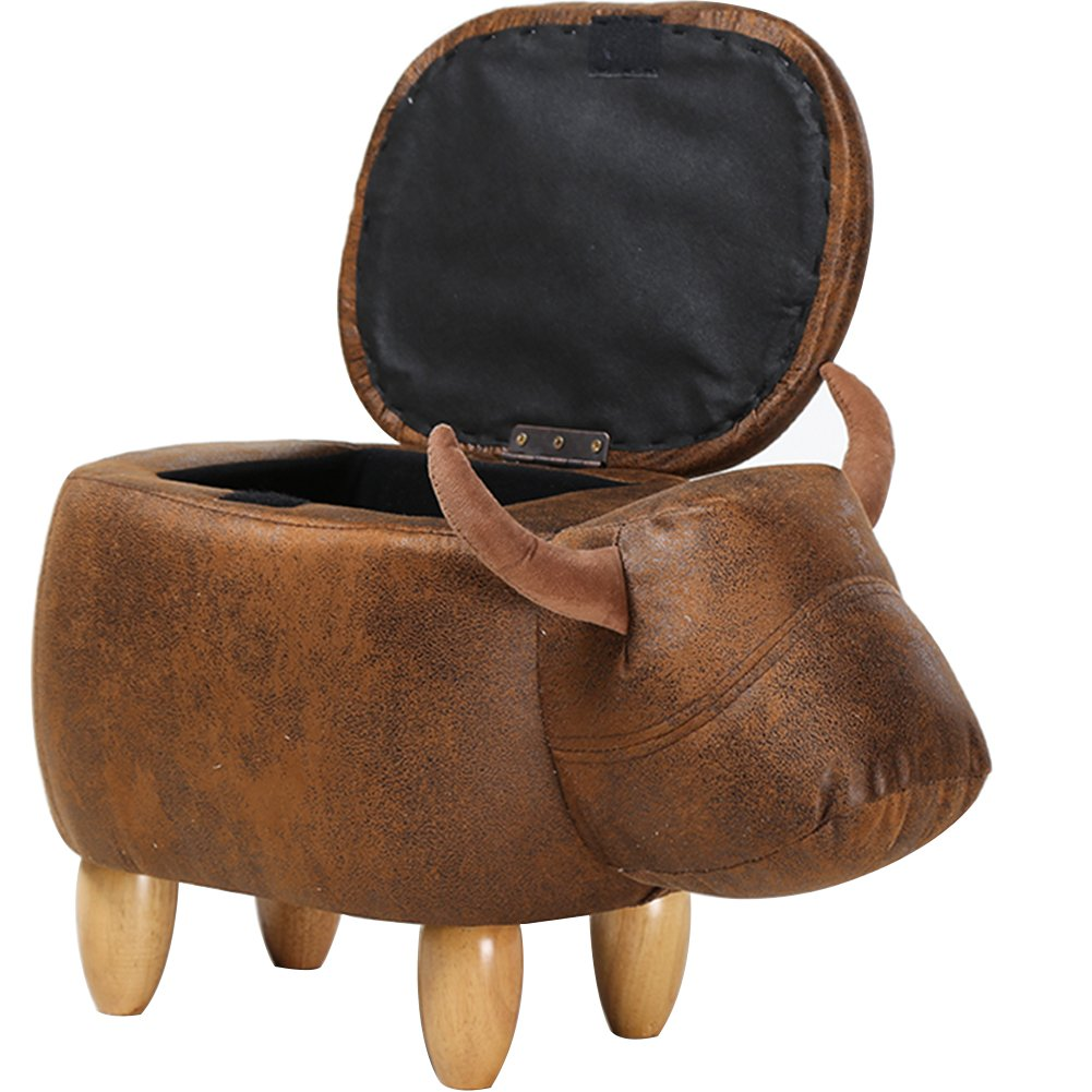 OLizee Decorative Buffalo Storage Ottoman Footstool Cute Animal Upholstered Stool for Kids Wooden Accent Footrest, Brown Suede