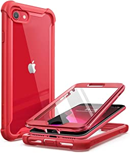 i-Blason Ares Designed for iPhone SE 2020 Case/iPhone 8 Case/iPhone 7 Case, [Built-in Screen Protector] Full-Body Rugged Clear Bumper Case for iPhone 8 / iPhone 7 (MetalicRed)